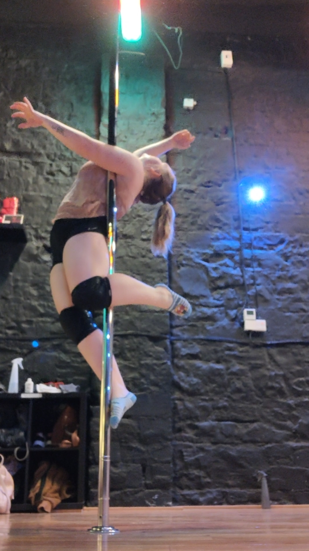 marita during pole fitness class
