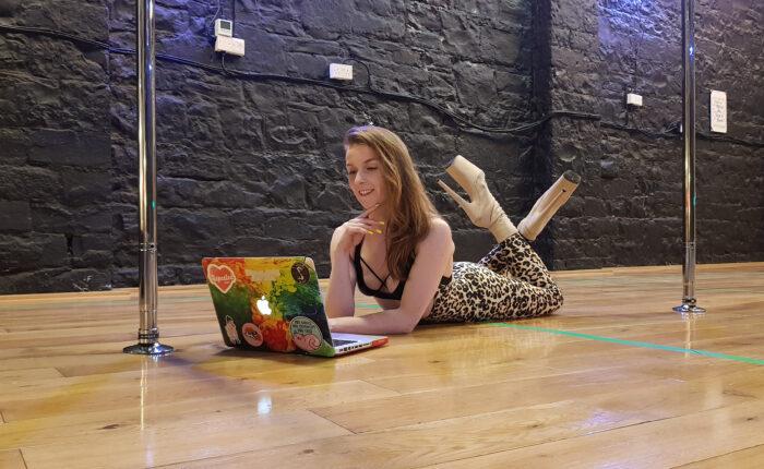 arlene caffrey teaching online pole dancing class