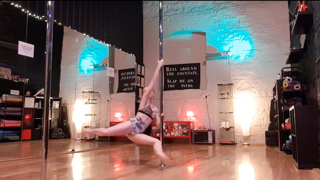 reverse attitude pole dance spin tutorial