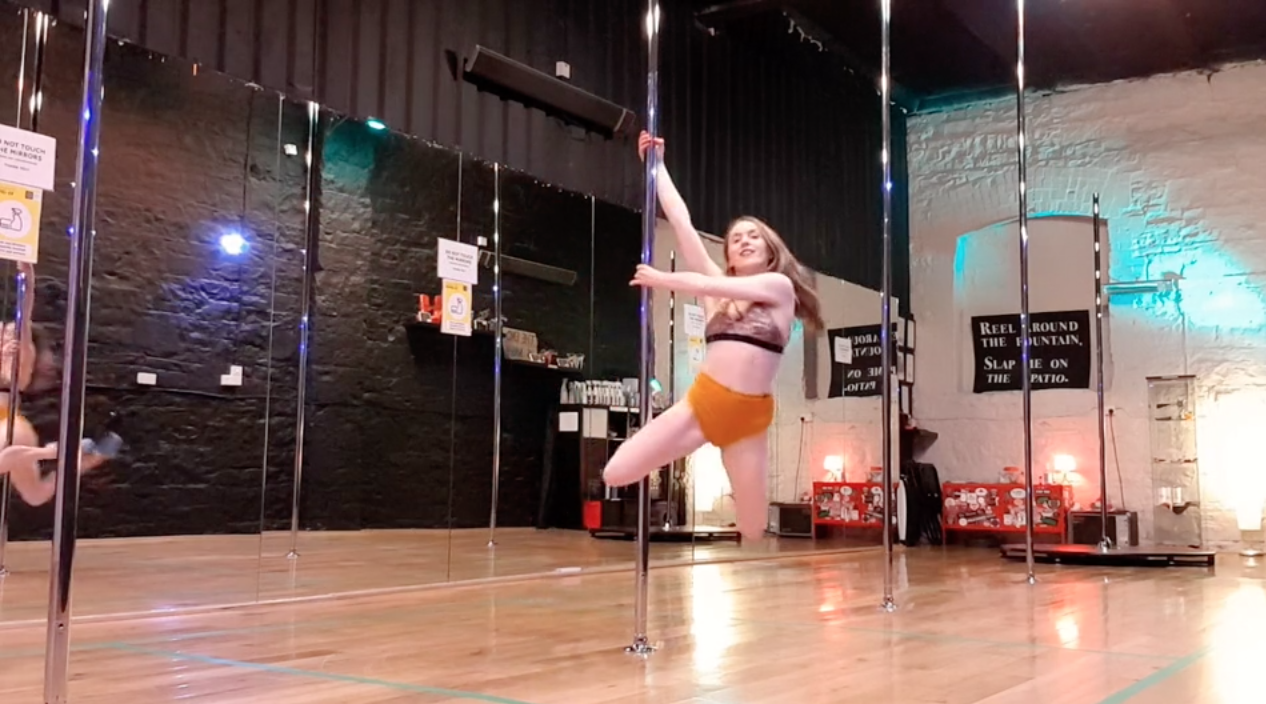 pole dance online lesson front hook spin