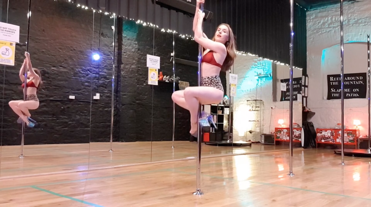 pole dance spins class online fireman to climb