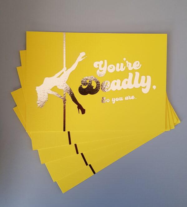 pole dancer postcard you're deadly by arlene caffrey