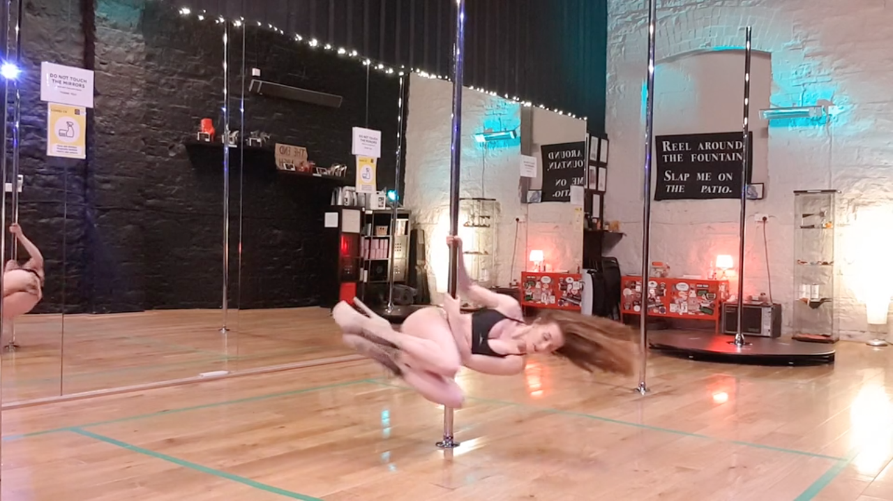 reverse attitude to tuck spin pole dance tutorial