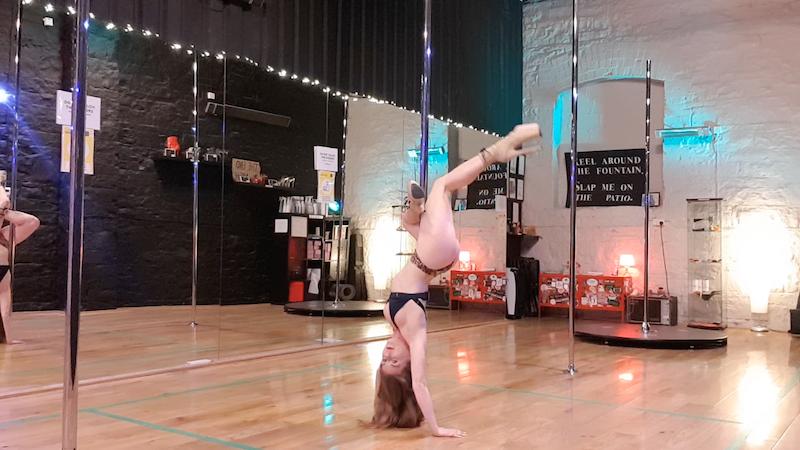scorpio handstand leg wave pole dance tutorial